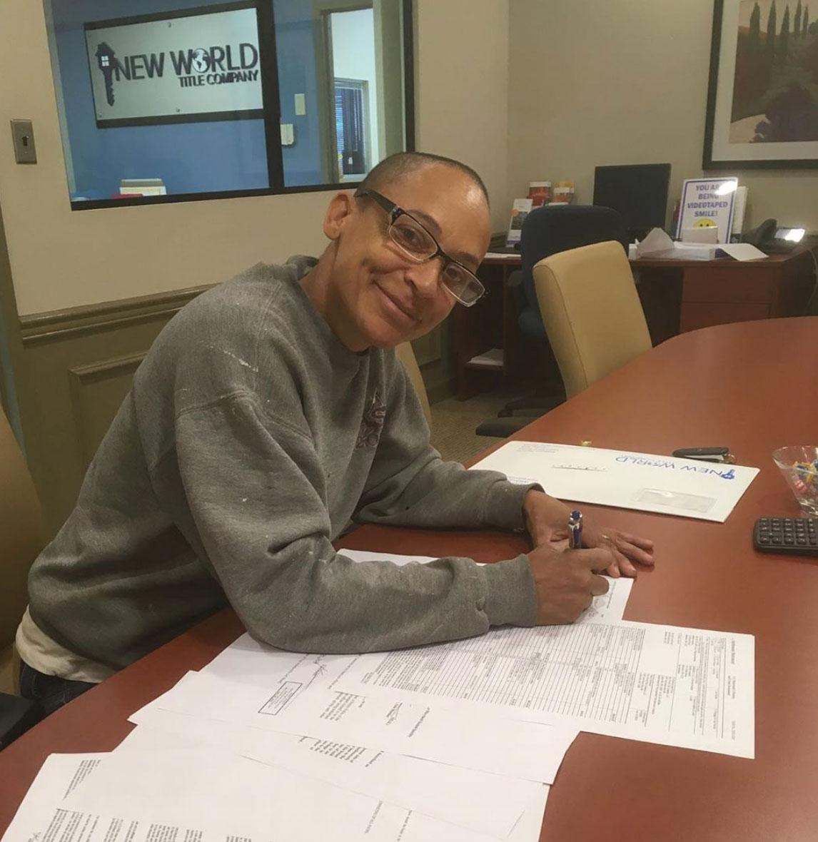 Shelley at new-world-title - Black Women Build Baltimore signs contracts on the Etting Street Project